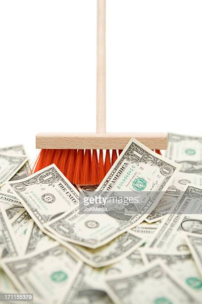 Sweeping Up Dollar Banknotes