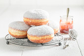 Sweet and brown donuts with white icing