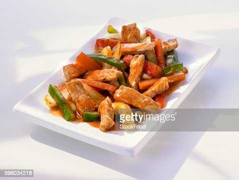Sweet and sour pork with peppers