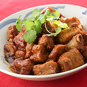 Sweet and sour spare ribs, close up