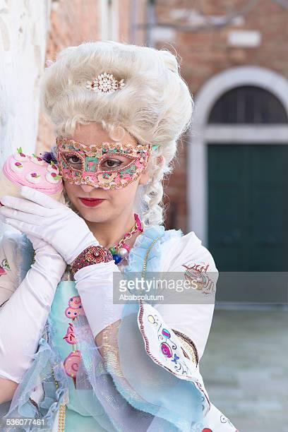 Gâteau sucré Masque de carnaval à l'arsenal de Venise, Italie, Europe