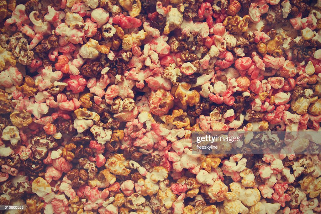 Sweet colorful popcorn. Street food : Stock Photo