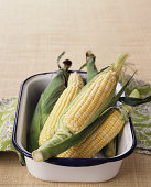 Sweet corn in a pan