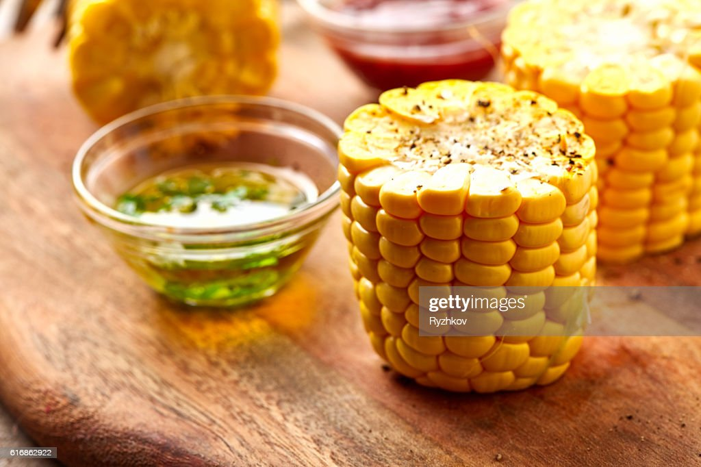 Sweet Corn on Rustic Wooden Plate : Stock Photo