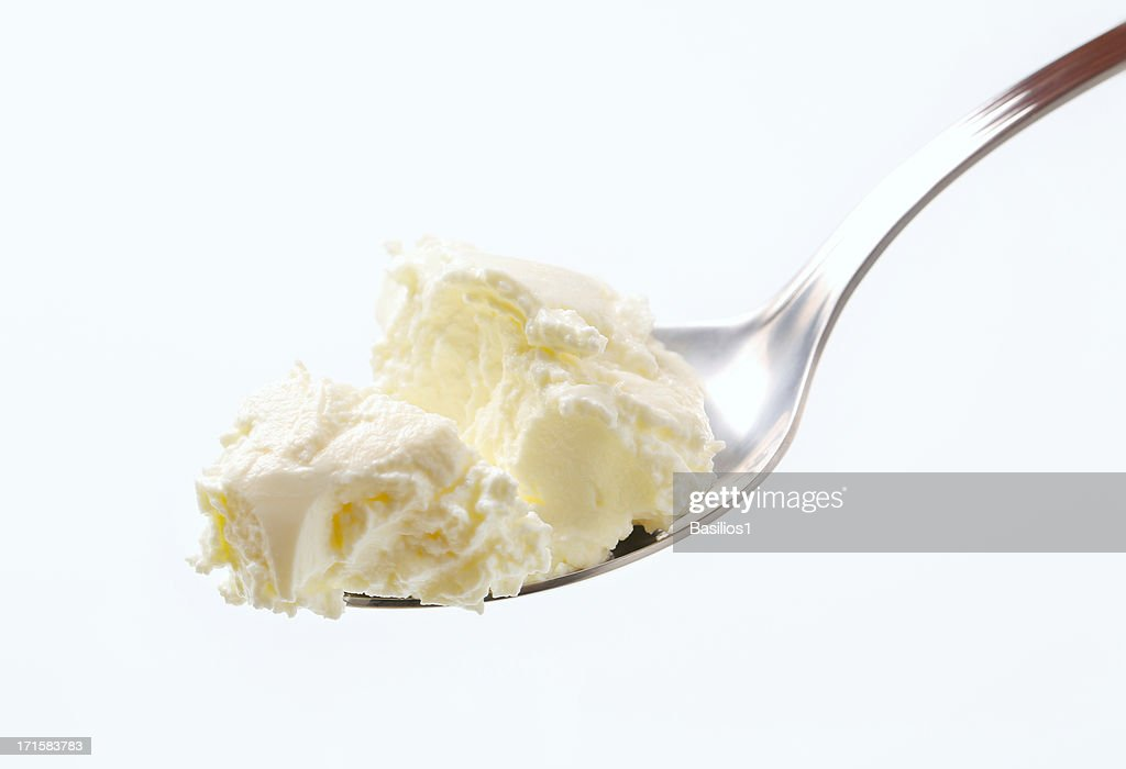 sweet cream cheese on a spoon
