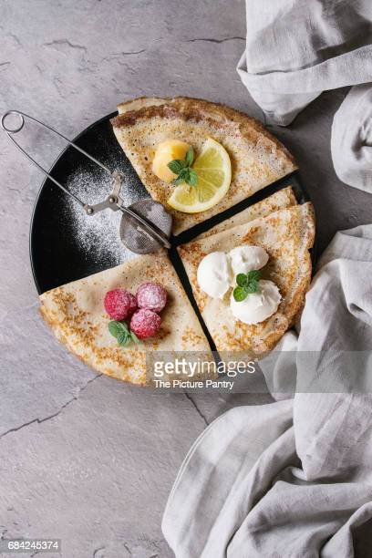 Sweet crepes pancakes with different fillings