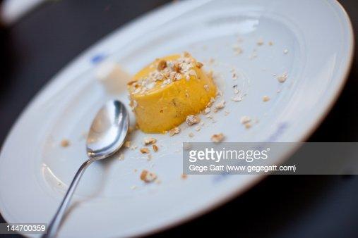 Sweet gourmet cream pudding desert with garnish : Stock Photo