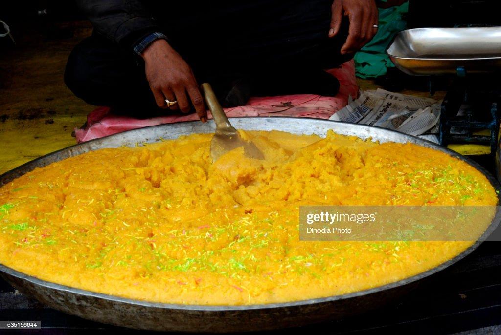 Sweet halwa prepared outside The Hazratbal Shrine in Srinagar, Jammu and Kashmir, India.
