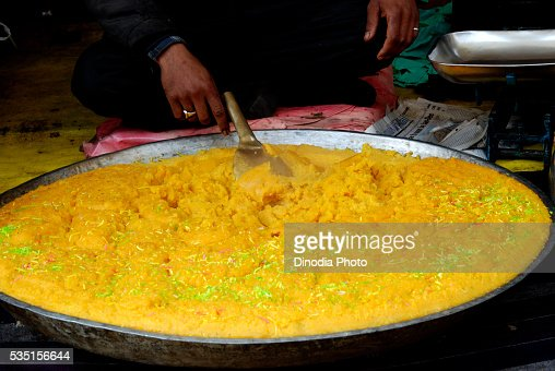 Sweet halwa prepared outside The Hazratbal Shrine in Srinagar, Jammu and Kashmir, India.