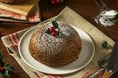 Sweet Homemade Christmas Figgy Pudding with Powdered Sugar
