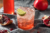 Sweet Homemade Pomegranate Grenadine Cocktail with Lime