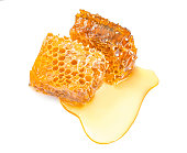 Sweet honeycomb top view, isolated on white