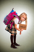young blonde schoolgirl holding help sign carrying heavy backpack or school bag full causing stress and pain on back due to overweight isolated on grunge  background