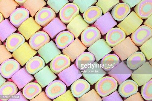 Sweet marshmallows in a pattern