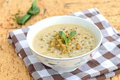 Sweet mung bean porridge with coconut milk and palm sugar