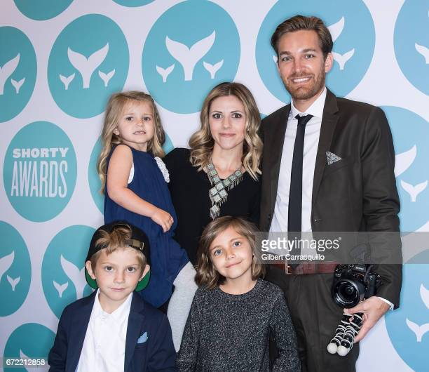 Sweet Pea Studer Chad Studer Rhea Studer Shiloh Studer and Farrell Studer of That Happy Famiy attend the 9th Annual Shorty Awards at PlayStation...