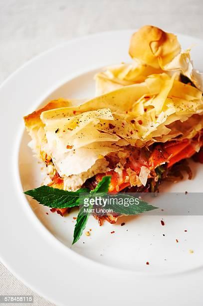 Sweet potato filo pastry tart, close-up