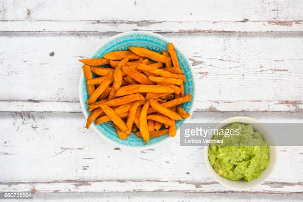 Sweet Potato French Fries with Avocado Sauce