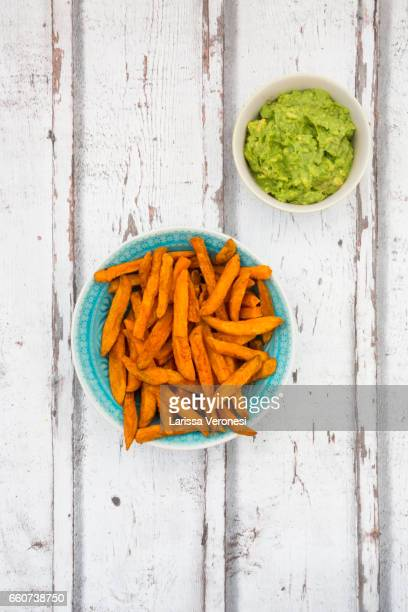Sweet Potato French Fries with Avocado Sauce