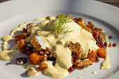 Breakfast or brunch hash with cranberries, onions and bechamel sauce