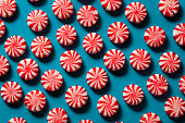 Sweet Red and White Peppermint Candy in a Bowl