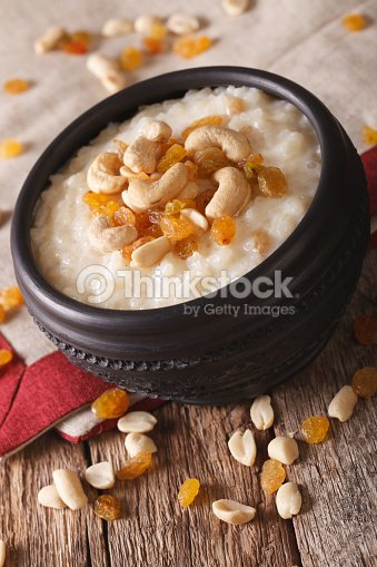 Sweet Rice Pudding With Nuts And Raisins In A Bowl Stock ...