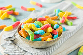 Sweet Sour Neon Gummy Worms with a Sugar Coating