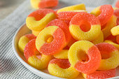 Sweet Sugary Peach Gummy Candy Rings Ready to Eat
