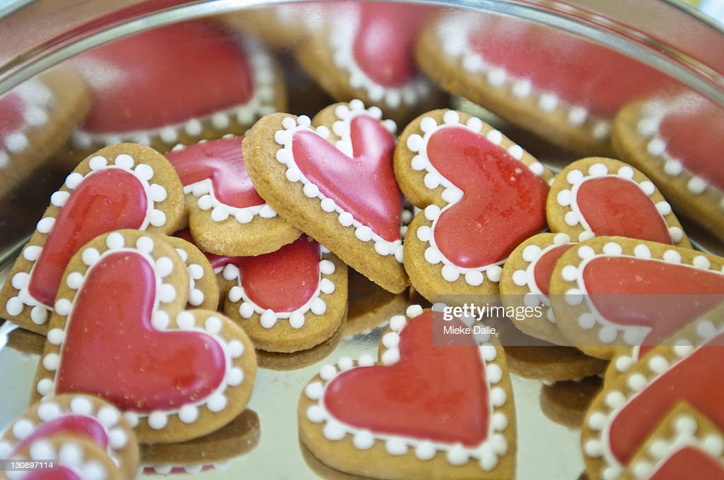 Sweet Valentine Cookies In A Tin Biscuit Box Stock Photo | Getty ...