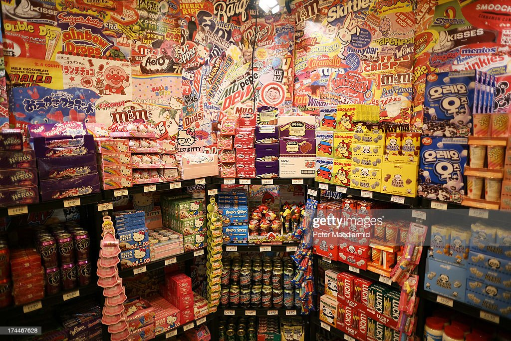 Sweets and biscuits are displayed for sale at the Hyper Japan event at Earls Court on July 26, 2013 in London, England. The show is the UK's biggest Japanese Culture event, with stalls selling clothing and artwork. Live music, Japanese food and computer gaming areas are also on show. Many attendees dress up as anime characters or in the lolita fashion widespread in Japan.