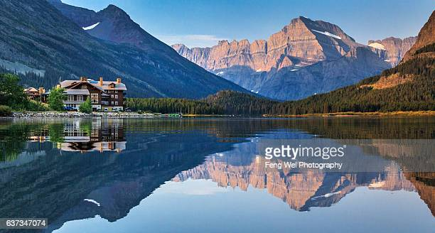 Swiftcurrent Lake with Many Glacier hotel and Mount Gould At Dawn, Many Glacier, Glacier National Park, Montana, USA