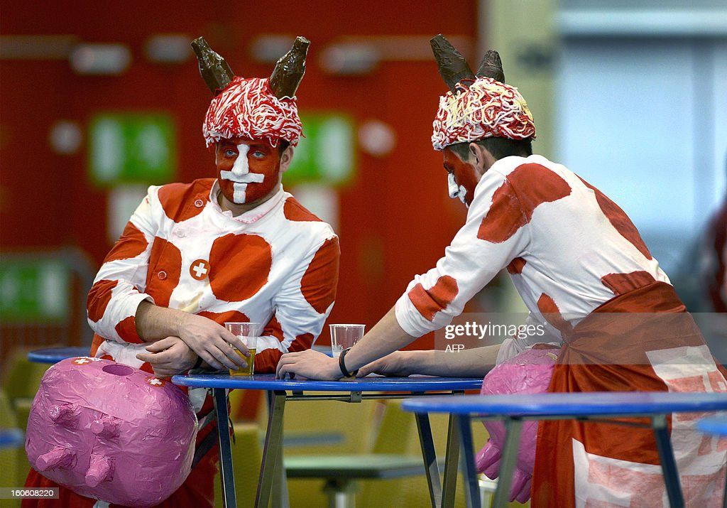 Swiis tennis fans are pictured after their team lost their Davis Cup World Group first round tennis match against The Czech Republic on February 3, 2013 in Geneva.