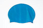 Blue Swim Cap is isolated on white