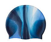 Blue silicone swim cap isolated on white