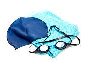 Swim equipment: swim cap, towel & goggles