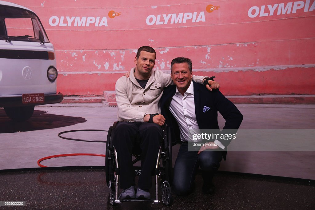 Swim expert Christian Keller (L) and gymnastics expert Ronny Ziesmer (R pose during a photocall prior to the ARD and ZDF Olympics 2016 Press Conference at Empire Riverside Hotel on May 24, 2016 in Hamburg, Germany.