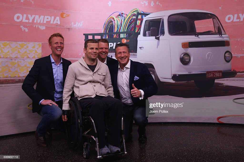 Swim expert Christian Keller (R), beachvolleyball expert Jonas Reckermann (L), row expert Kristof Wilke (2nd R) and gymnastics expert Ronny Ziesmer (2nd L) pose during a photocall prior to the ARD and ZDF Olympics 2016 Press Conference at Empire Riverside Hotel on May 24, 2016 in Hamburg, Germany.