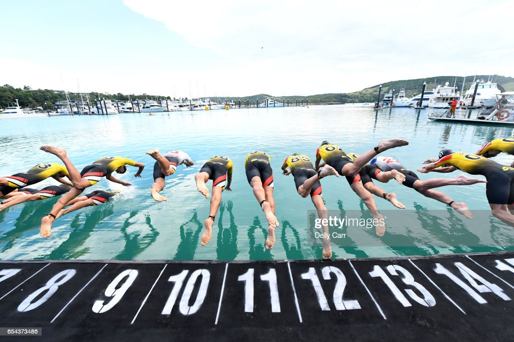Swim Start during the Superleague Triathlon at Hamilton Island on March 17, 2017 in Hamilton Island, Australia.