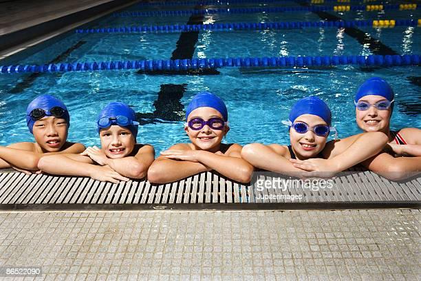 Swim team posing