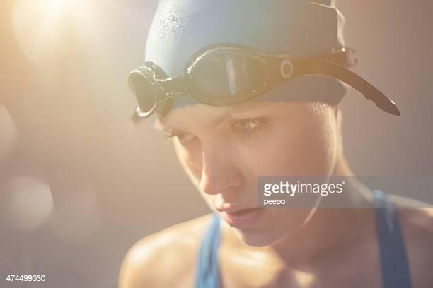 Swimmer About To Compete