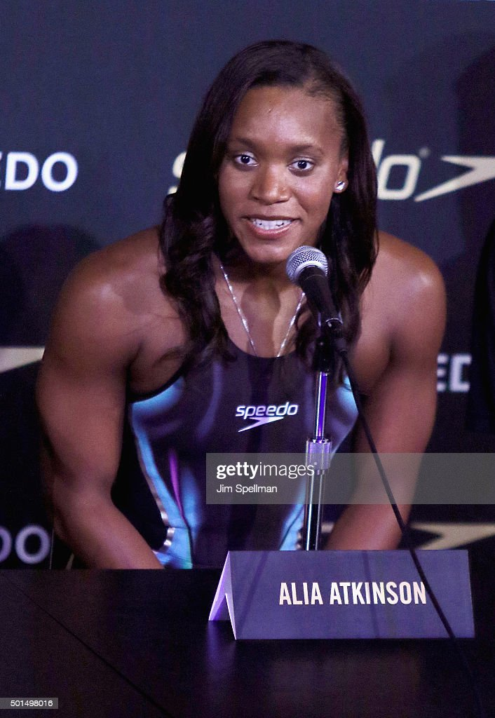 Swimmer <a gi-track='captionPersonalityLinkClicked' href=/galleries/search?phrase=Alia+Atkinson&family=editorial&specificpeople=881789 ng-click='$event.stopPropagation()'>Alia Atkinson</a> attends the Speedo Rio 2016 Olympic Games racing suit unveiling at SIR Stage37 on December 15, 2015 in New York City.