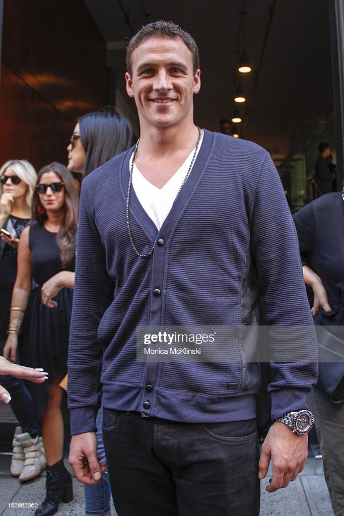 Swimmer and Olympic Medalist <a gi-track='captionPersonalityLinkClicked' href=/galleries/search?phrase=Ryan+Lochte&family=editorial&specificpeople=182557 ng-click='$event.stopPropagation()'>Ryan Lochte</a> seen outside the Jeremy Scott showing at Milk Studios at Streets of Manhattan on September 12, 2012 in New York City.