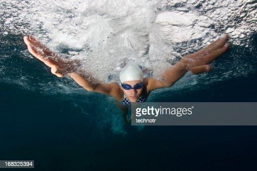 Swimmer at butterfly stroke