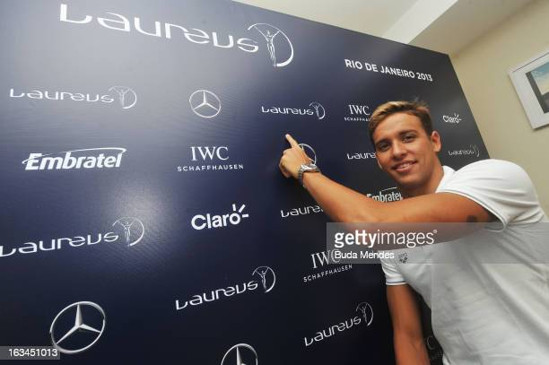 Swimmer Chad le Clos of South Africa is interviewed during day 2 of the 2013 Laureus World Sports Awards on March 9 2013 in Rio de Janeiro Brazil