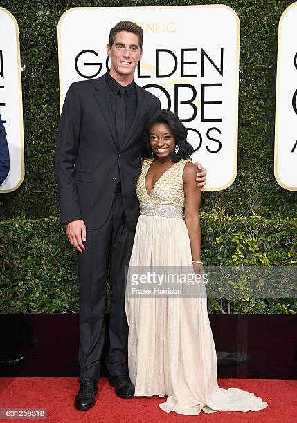 Swimmer Conor Dwyer and gymnast Simone Biles attend the 74th Annual Golden Globe Awards at The Beverly Hilton Hotel on January 8 2017 in Beverly...