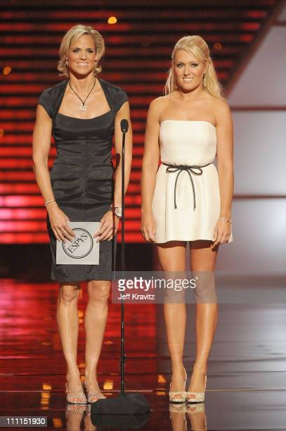 Swimmer Dara Torres and golfer Natalie Gulbis onstage during the 17th annual ESPY Awards held at Nokia Theatre LA Live on July 15 2009 in Los Angeles...