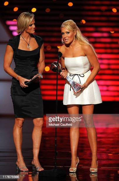 Swimmer Dara Torres and LPGA golfer Natalie Gulbis onstage during the 17th annual ESPY Awards held at Nokia Theatre LA Live on July 15 2009 in Los...