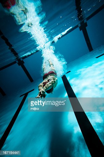 Swimmer diving after the jump in swimming pool : Stock Photo