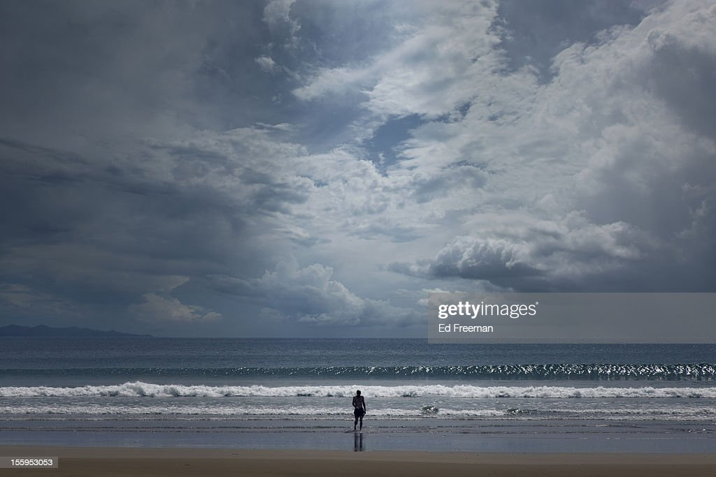 Swimmer Emerging From Ocean : Stock Photo