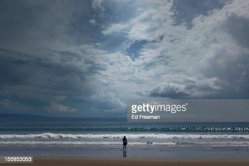 Swimmer Emerging From Ocean : Stock Photo